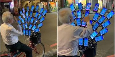 """""""Ông Nội Pokemon Go"""": Gắn 45 chiếc điện thoại lên xe đạp để săn thú"""