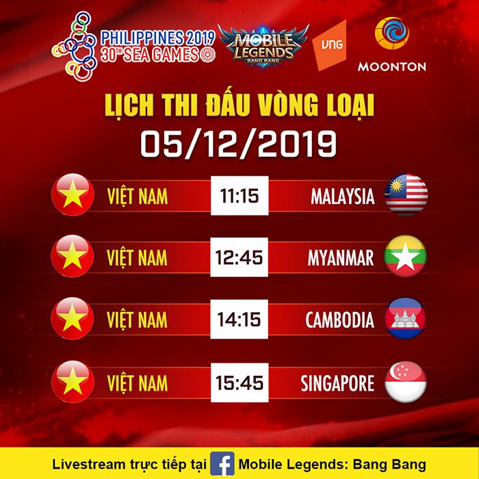 Lịch thi đấu của Đội tuyển quốc gia Mobile Legends: Bang Bang Việt Nam