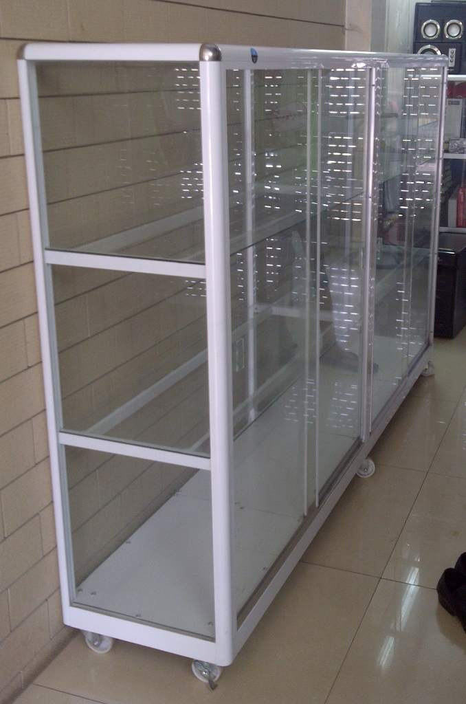 Thanh lý tủ kính kệ sắt để máy tính | đồ cũ thùy trang hải phòng 0834 567 824