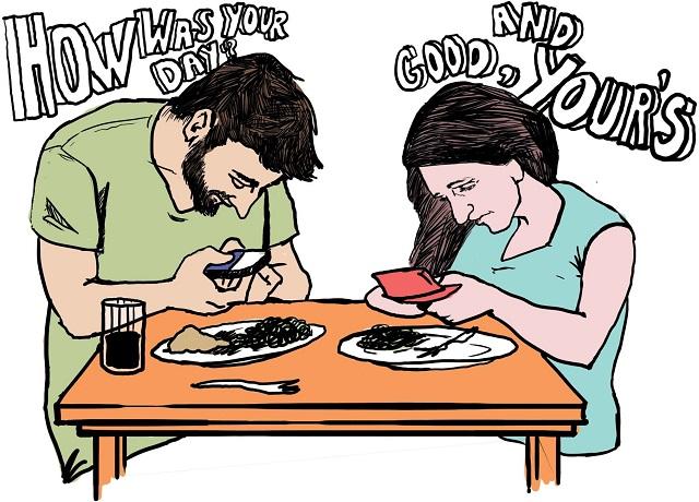 6 dấu hiệu của việc bạn đã nghiện smartphone Texting_eating-jpg.1050574