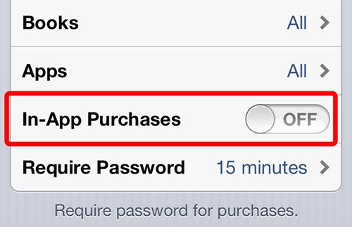 Tắt chức năng In App Purchase trên các máy iOS