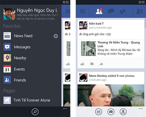 Facebook 5.0 dành cho Windows Phone chính thức ra mắt