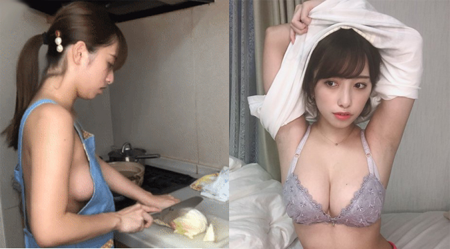Nữ sinh viên gây sốt khi thả rông, mặc mỗi tạp dề để dạy nấu ăn