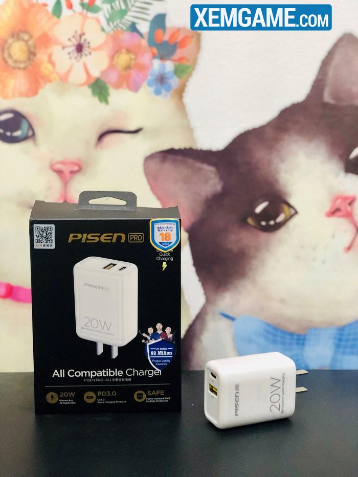 Sạc nhanh PISEN Pro Dual Port QP 20W