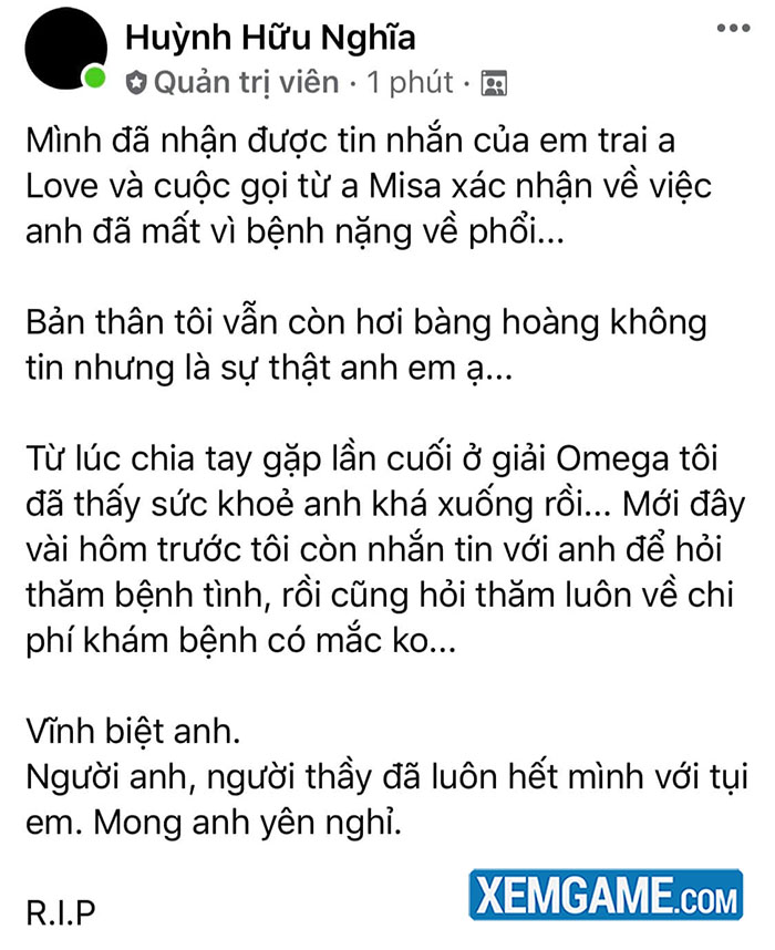 Cây đại thụ của làng Dota 2 Việt Nam qua đời ở tuổi 33